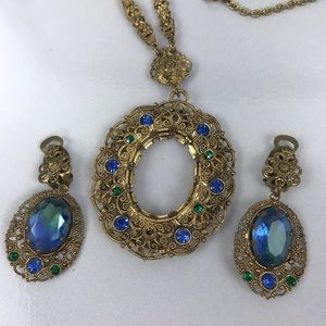 W Germany Unsigned Filigree Earrings and Necklace
